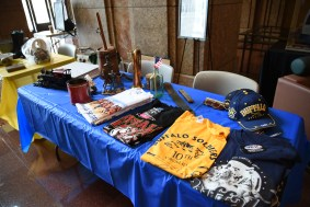 A display with historic items and other memorabilia from the Buffalo Soldiers regiments.