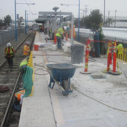 Work at Washington Station during last weekend's foggy weather.
