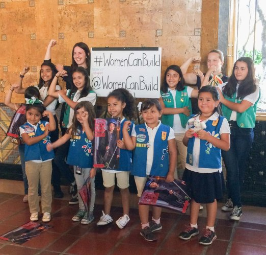 Girl Scouts visiting the Women Can Build exhibit. Photo: Ginny Brideau/Metro