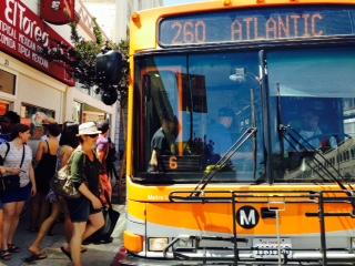 Boarding the Metro 260 bus