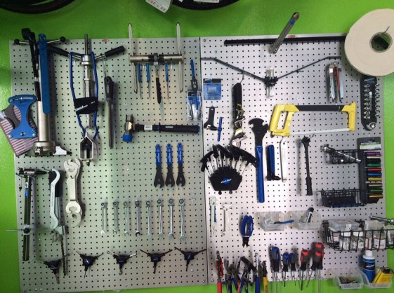 The bike hub is stocked with all the tools needed for staff to perform repairs while bicycle commuters are at work.
