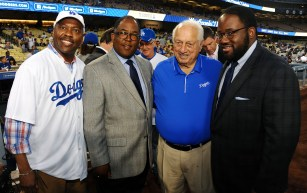 From left, Metro CEO Phil Washington, Board Chair Mark Ridley-Thomas, Tommy Lasorda and Assemblyman Sebastian Ridley-Thomas.