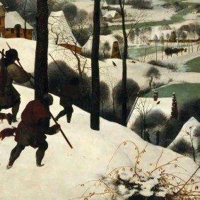 "Bottom left corner of Pieter Bruegel's ""Hunters in the Snow."""