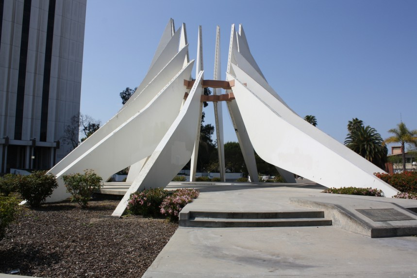 The Compton Civic Center monument dedicated to Dr. Martin Luther King.