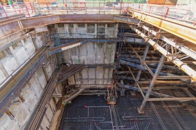 Looking down into the future Expo/Crenshaw underground station.