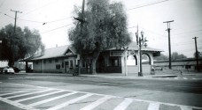 Pacific Electric Monrovia Station at Olive and Myrtle Avenue. The new Gold Line Monrovia Station is located approximately 1 mile south at Myrtle and Duarte. Photo: Alan K. Weeks.