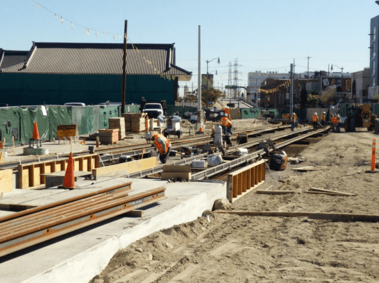 Installation of the shoofly track tie-in towards East L.A.