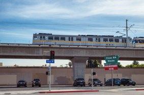 Expo test train on bridge over Pico.