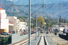 Looking east from the cab of a train bound for Azusa Downtown Station.
