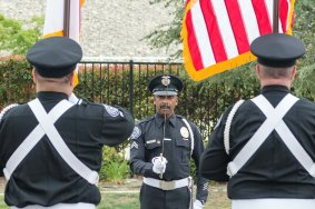 The color guard practicing. Photo by Steve Hymon/Metro.