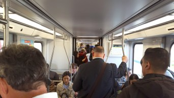 Standing room on the Gold Line on a recent afternoon. Photo: Anna Chen/Metro