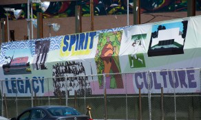 Temporary artwork banners on Crenshaw Blvd.