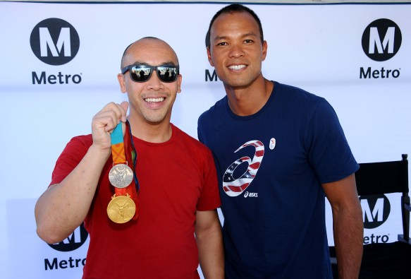 Olympic 2008 gold medalist in the decathlon Bryan Clay at APU/Citrus Station on Thursday. Photos by Gary Leonard for Metro.
