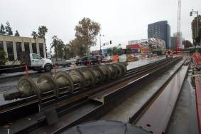 The decking that is now covering Wilshire Boulevard with other equipment.