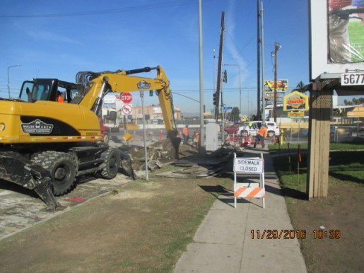 Removal of street curbs and gutter in Park Mesa Heights.