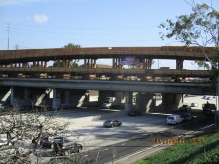 The new rail bridge over the 405 freeway.