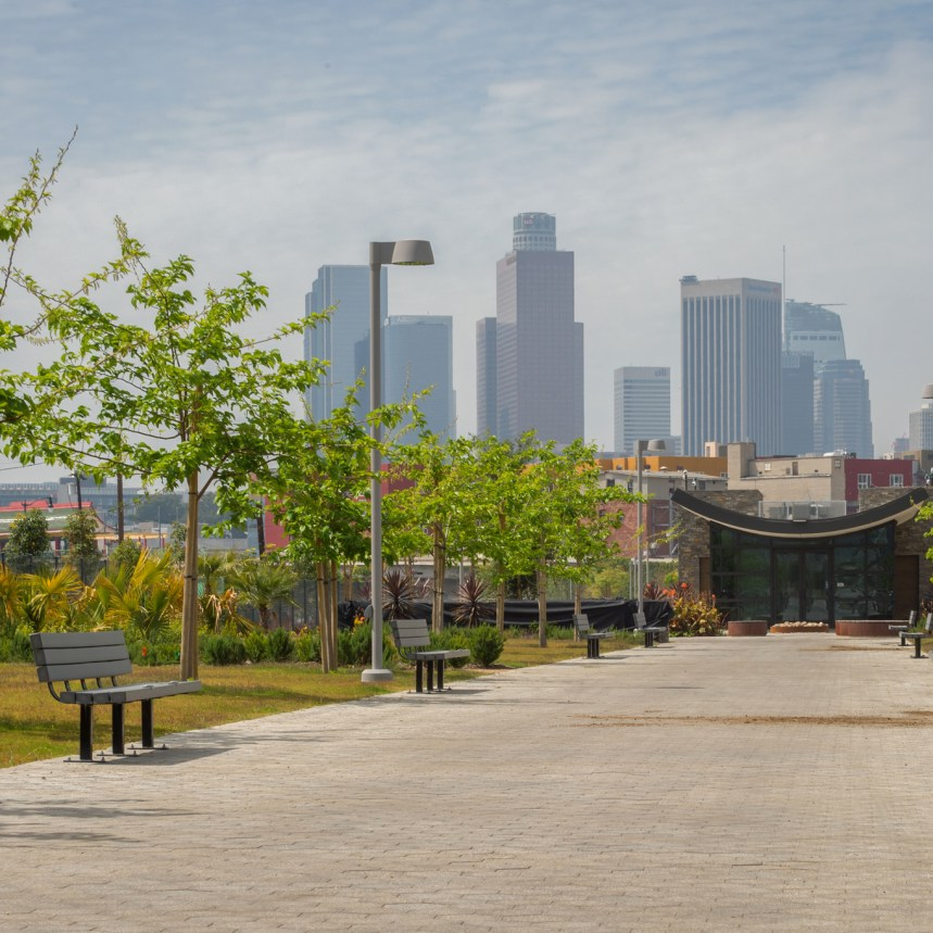 DTLA skyline behind the new welcome center.