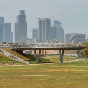 A wider view of the Roundhouse Bridge and DTLA behind it.