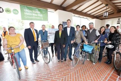 Metro Board Member Ara Najarian and Metro DCEO Stephanie Wiggins join bicycle advocates to celebrate the groundbreaking of the Union Station Metro Bike Hub.