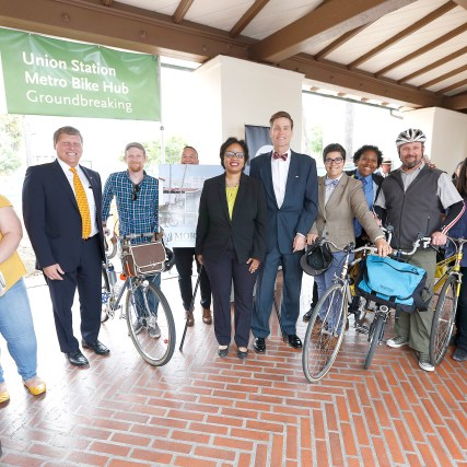 Metro Board Member Ara Najarian and Metro DCEO Stephanie Wiggins join bicycle advocates to celebrate the groundbreaking of the Union Station Metro Bike Hub.
