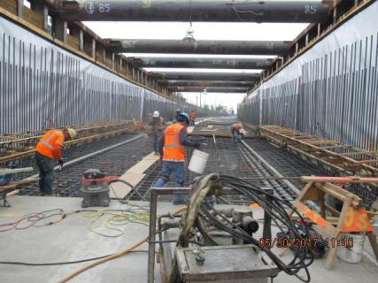 Installation of rebar at the southbound tunnel entrance.