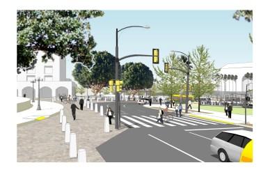 Rendering of future crosswalk and expanded sidewalks.