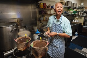 Shabu Shabu House owner Yoshi brewing the store's signature iced coffee. Shabu Shabu House is the first restaurant of its kind to open in the United States in 1991.