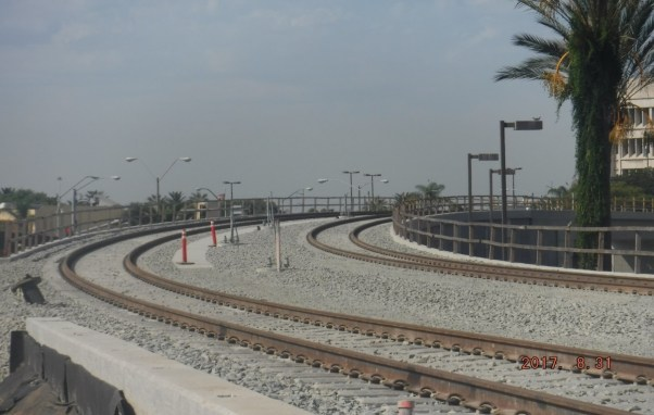 Tracks near La Brea. The poles that hold the overhead wires still need to be erected.