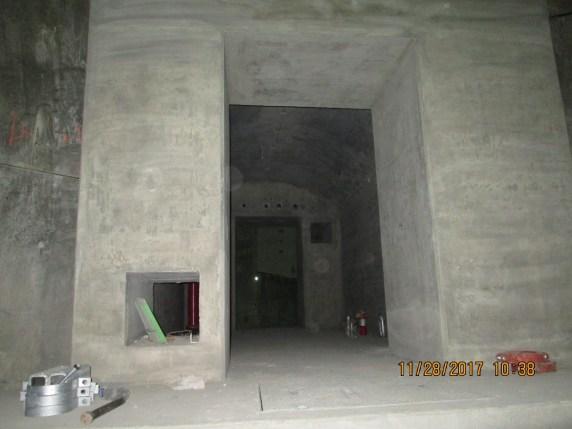 A cross passage between rail tunnels in the underground section below Leimert Park.