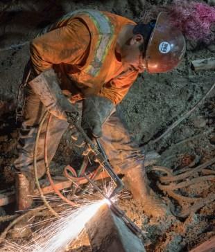 Support of excavation work under Flower St. Photo by Ken Karagozian.