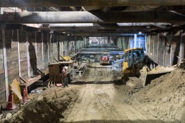View of tunnel box construction under Flower St. Photo by Ken Karagozian.