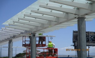 Installation of Glass Canopy at the Hyde Park Station.