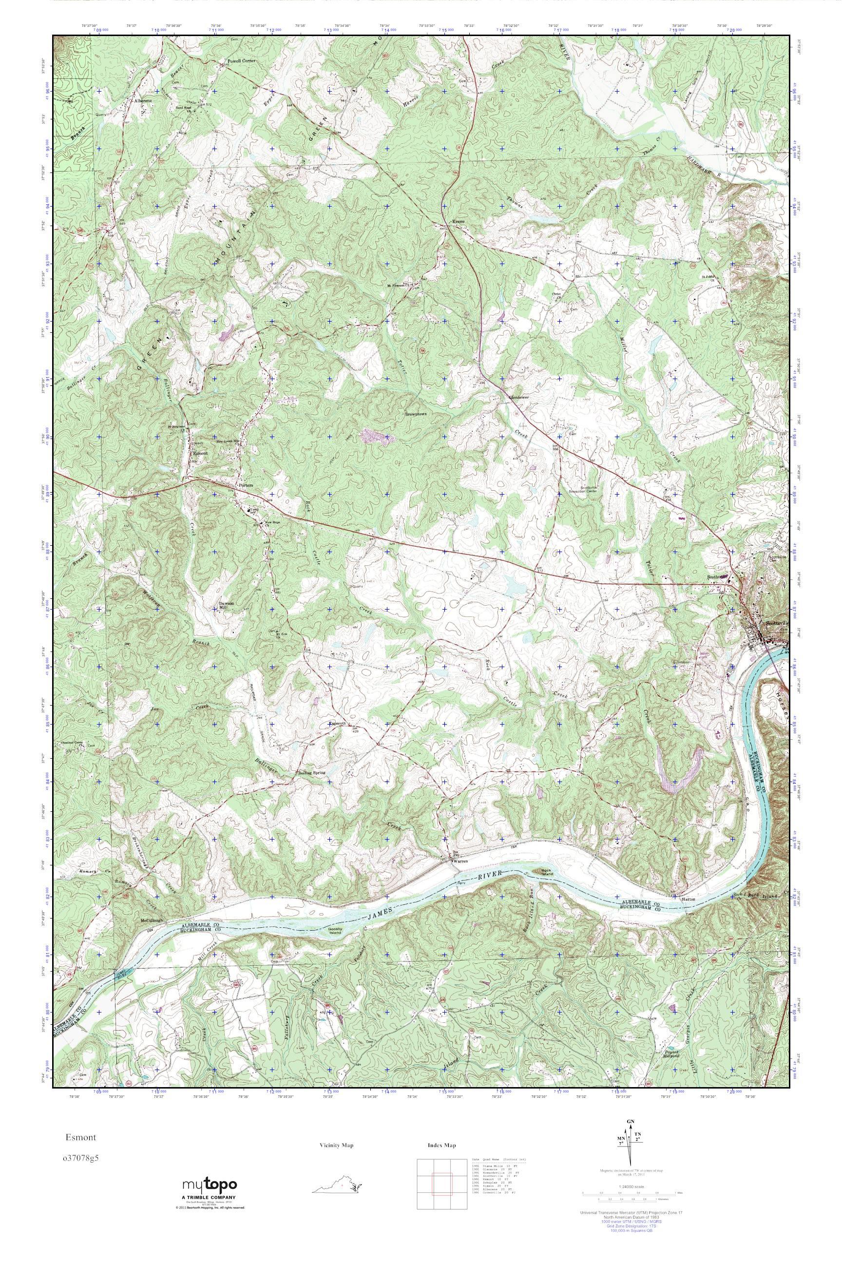 Mytopo Esmont Virginia Usgs Quad Topo Map