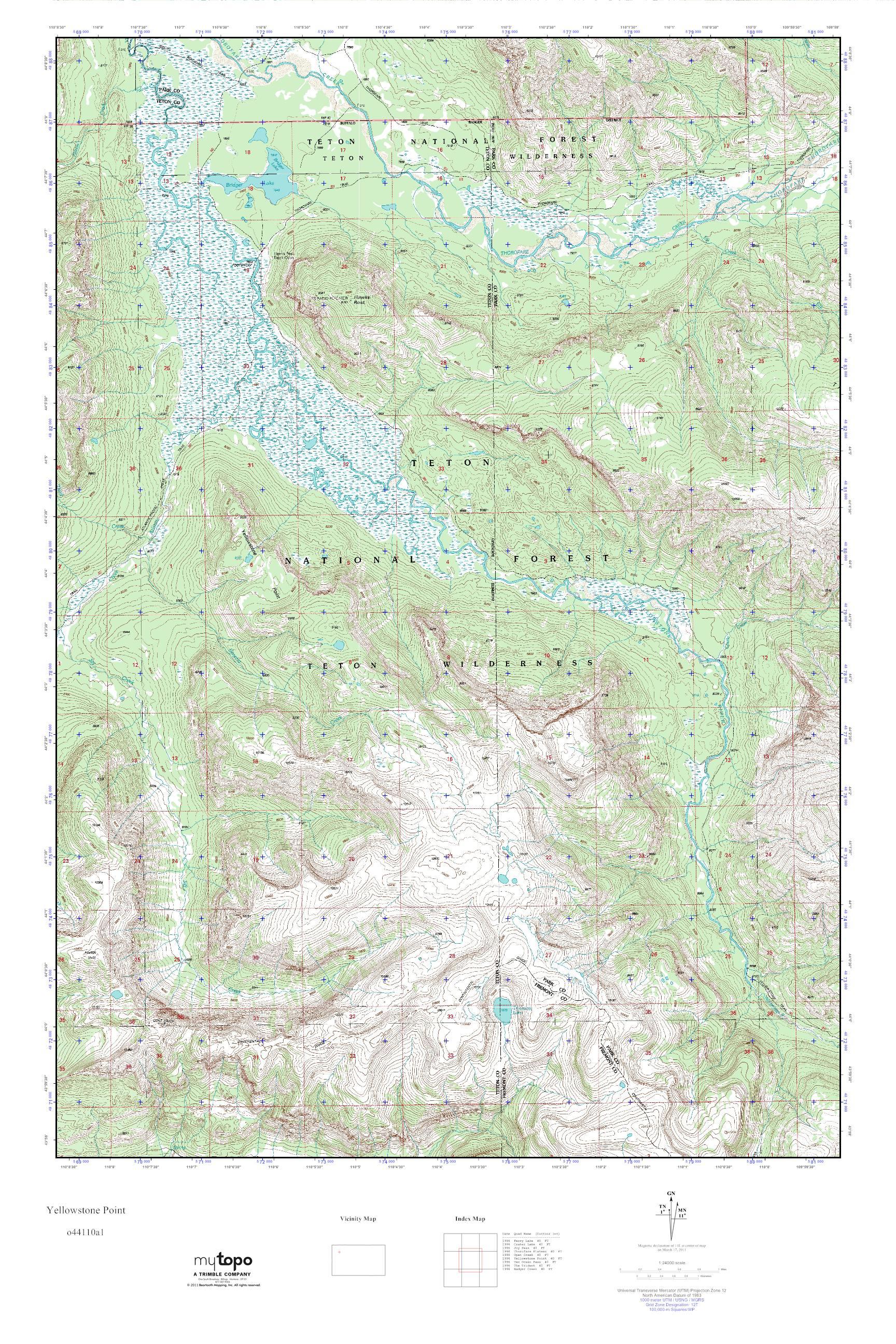 Mytopo Yellowstone Point Wyoming Usgs Quad Topo Map