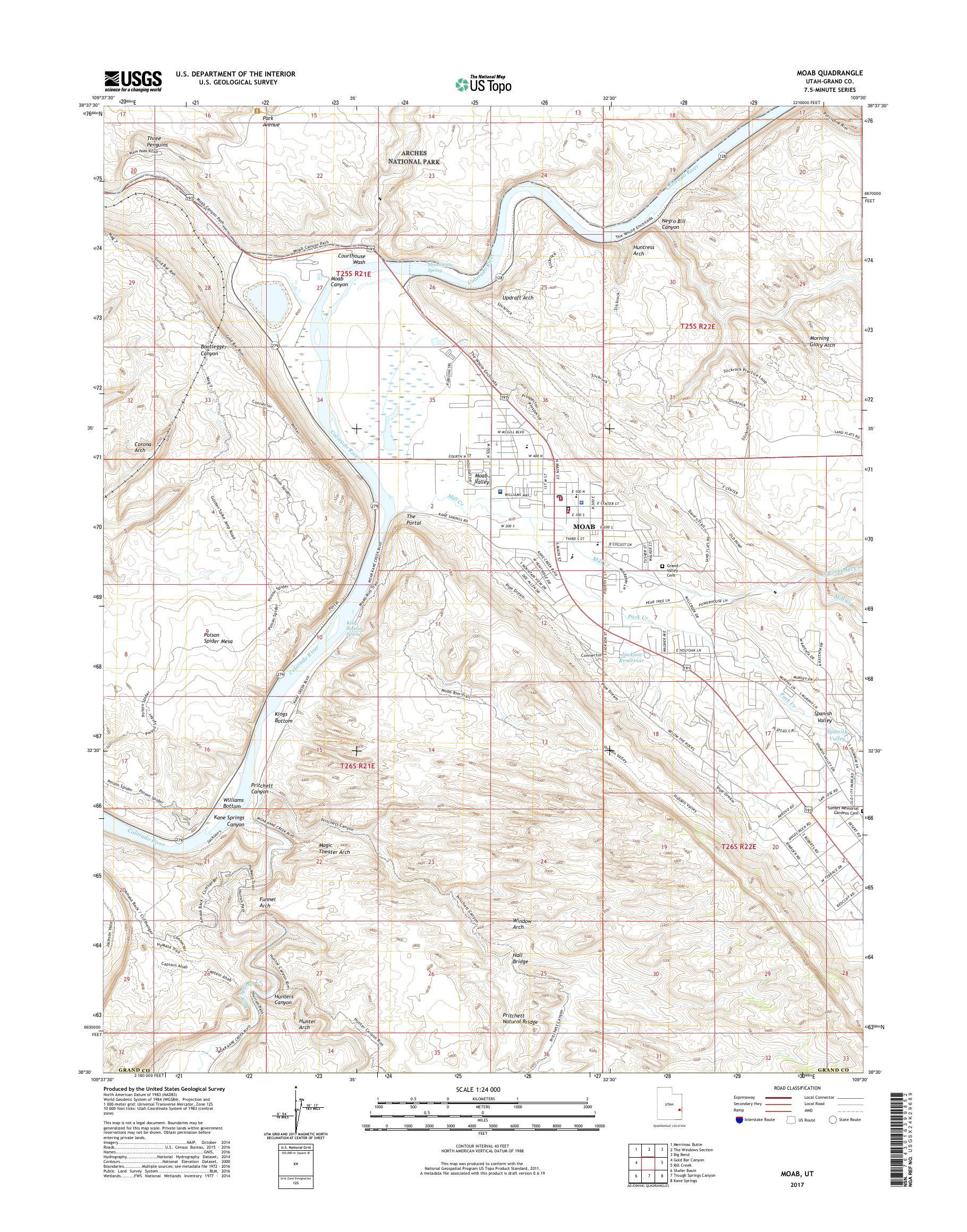 Mytopo Moab Utah Usgs Quad Topo Map