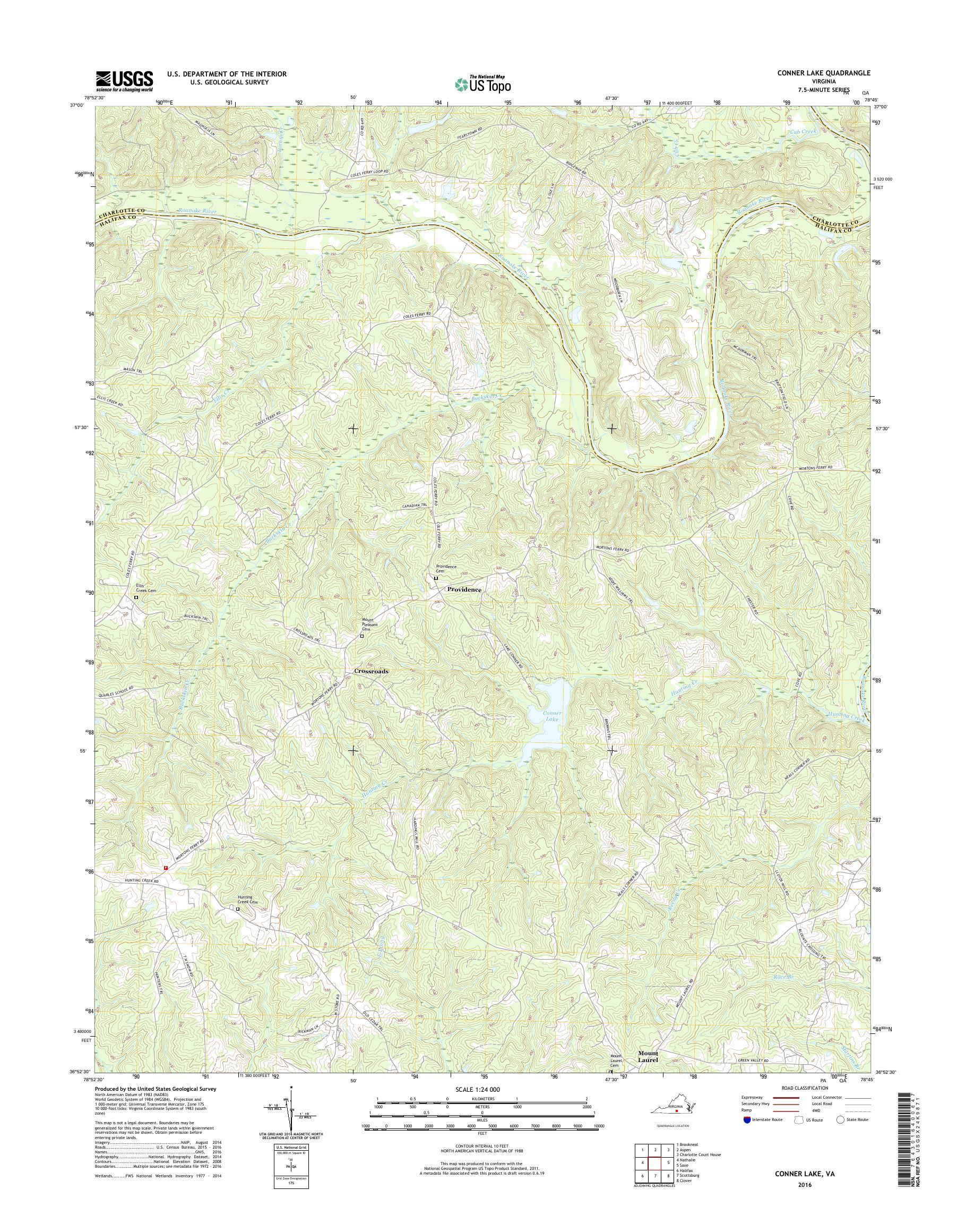 Mytopo Conner Lake Virginia Usgs Quad Topo Map