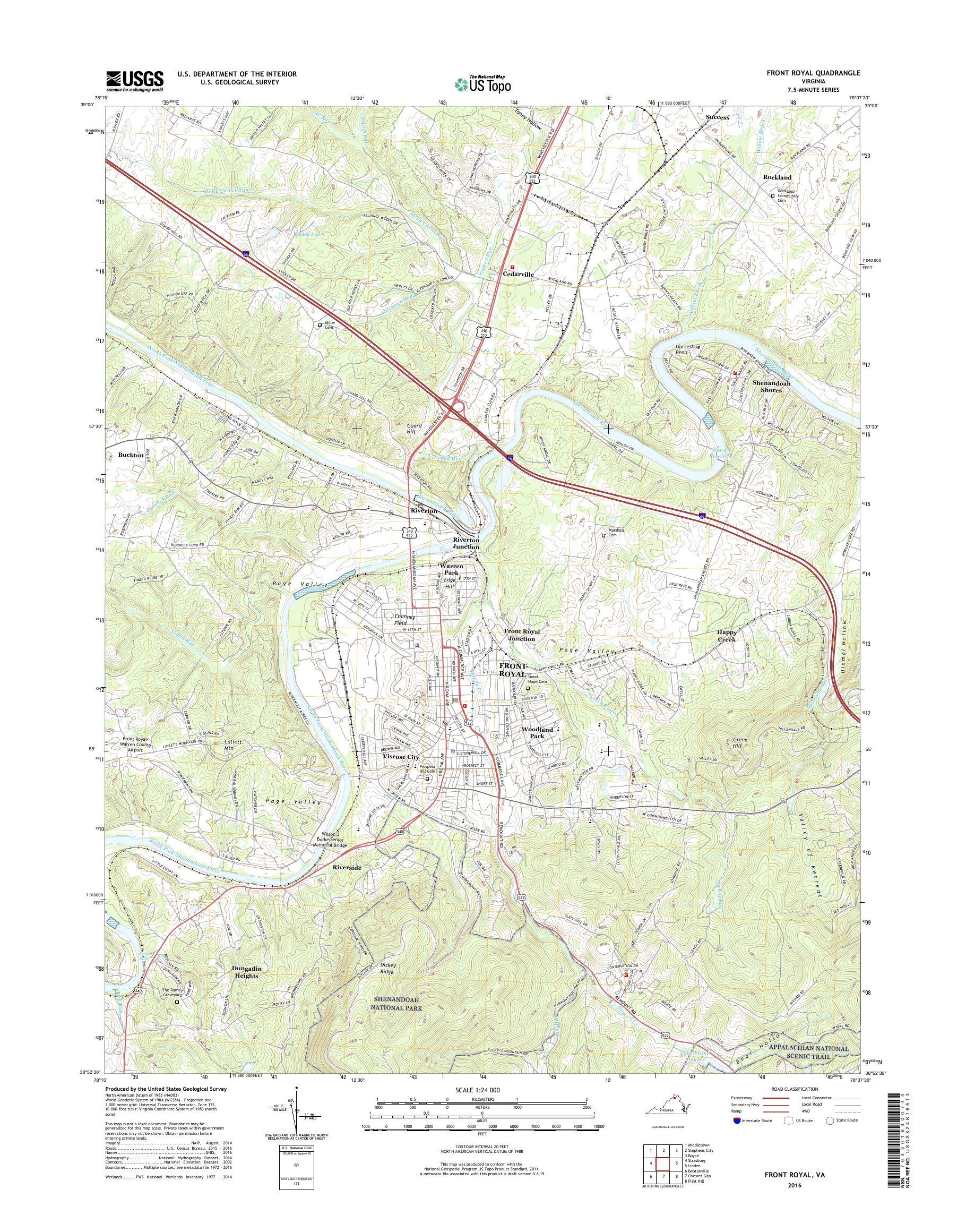 Mytopo Front Royal Virginia Usgs Quad Topo Map