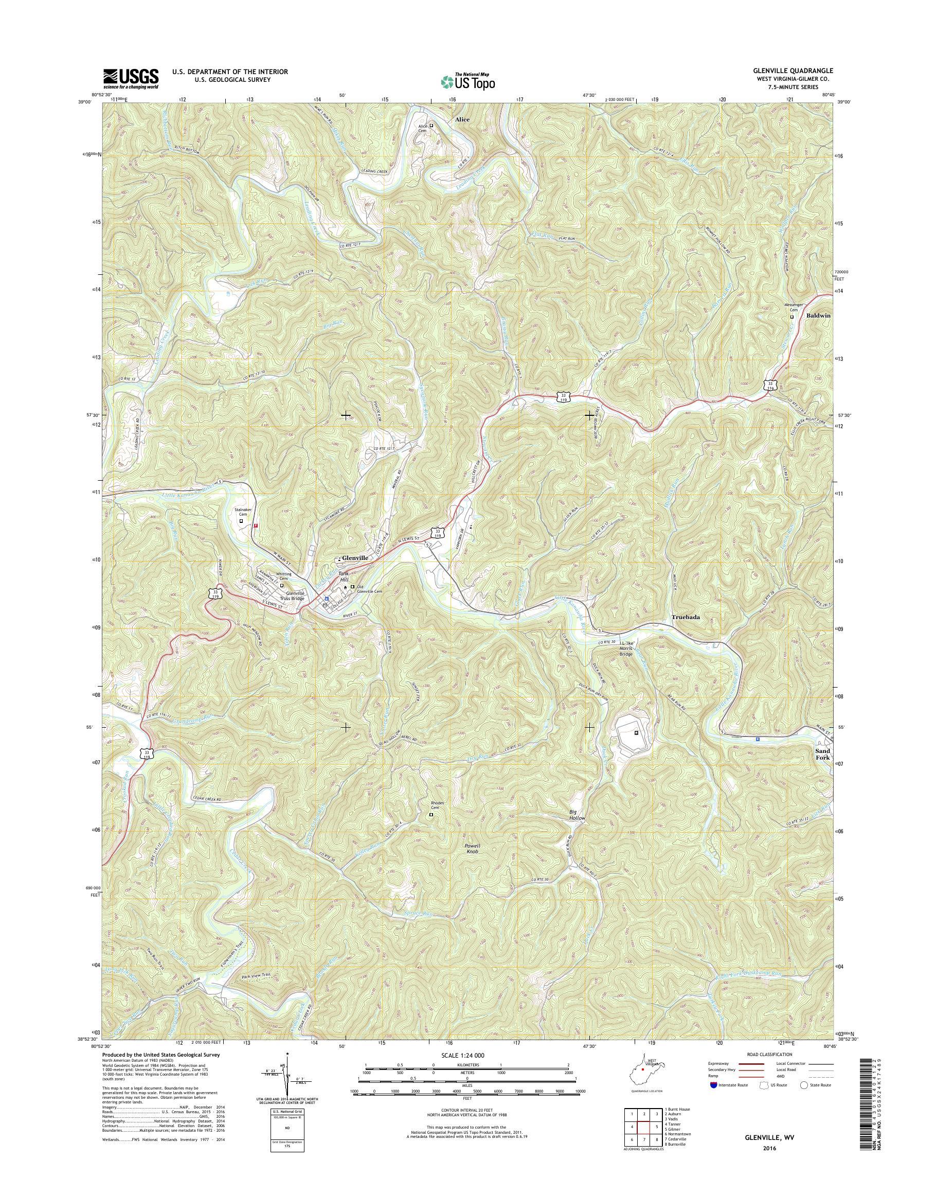 Mytopo Glenville West Virginia Usgs Quad Topo Map