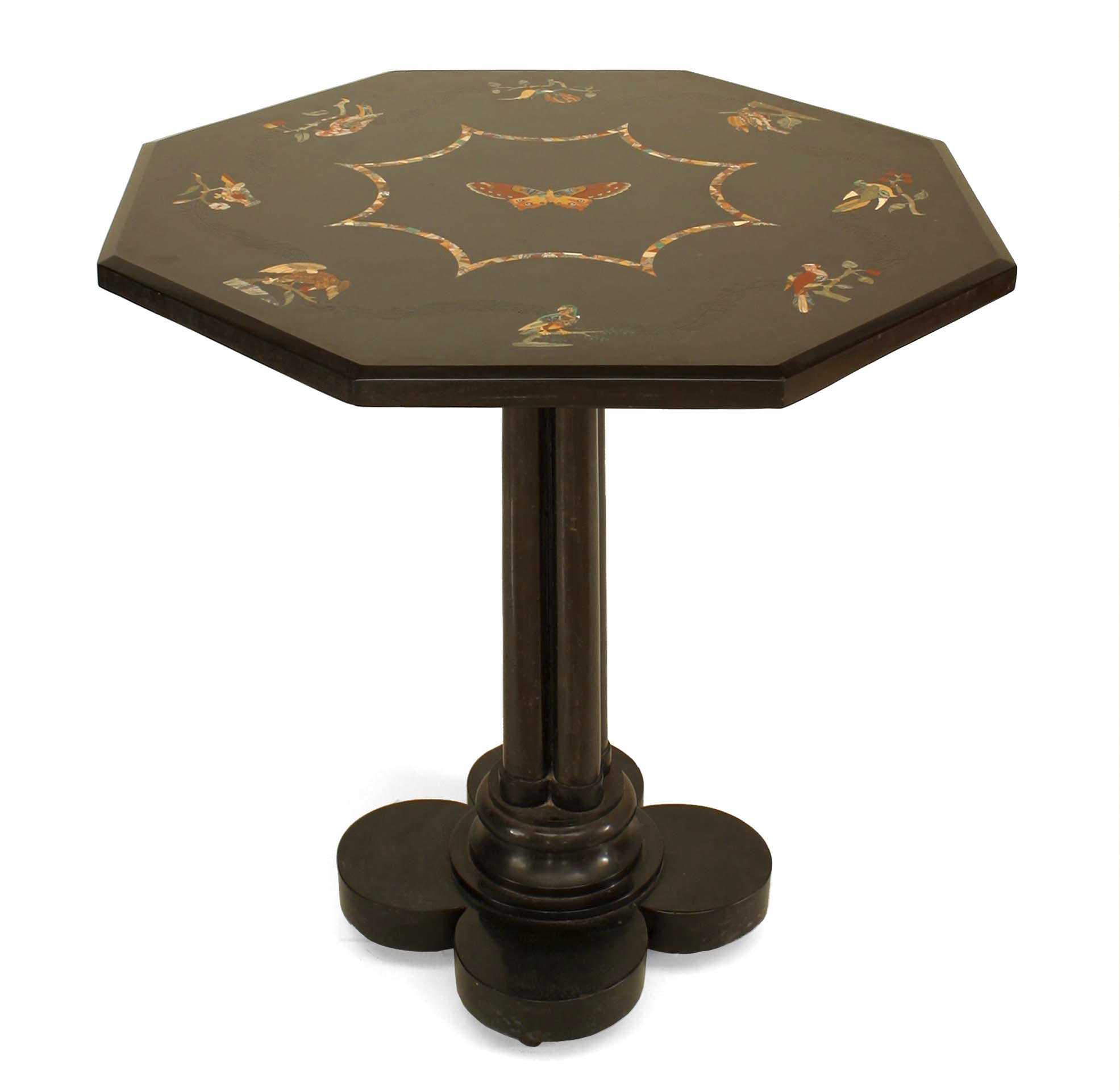French Victorian Black Marble Floral End Table Newel