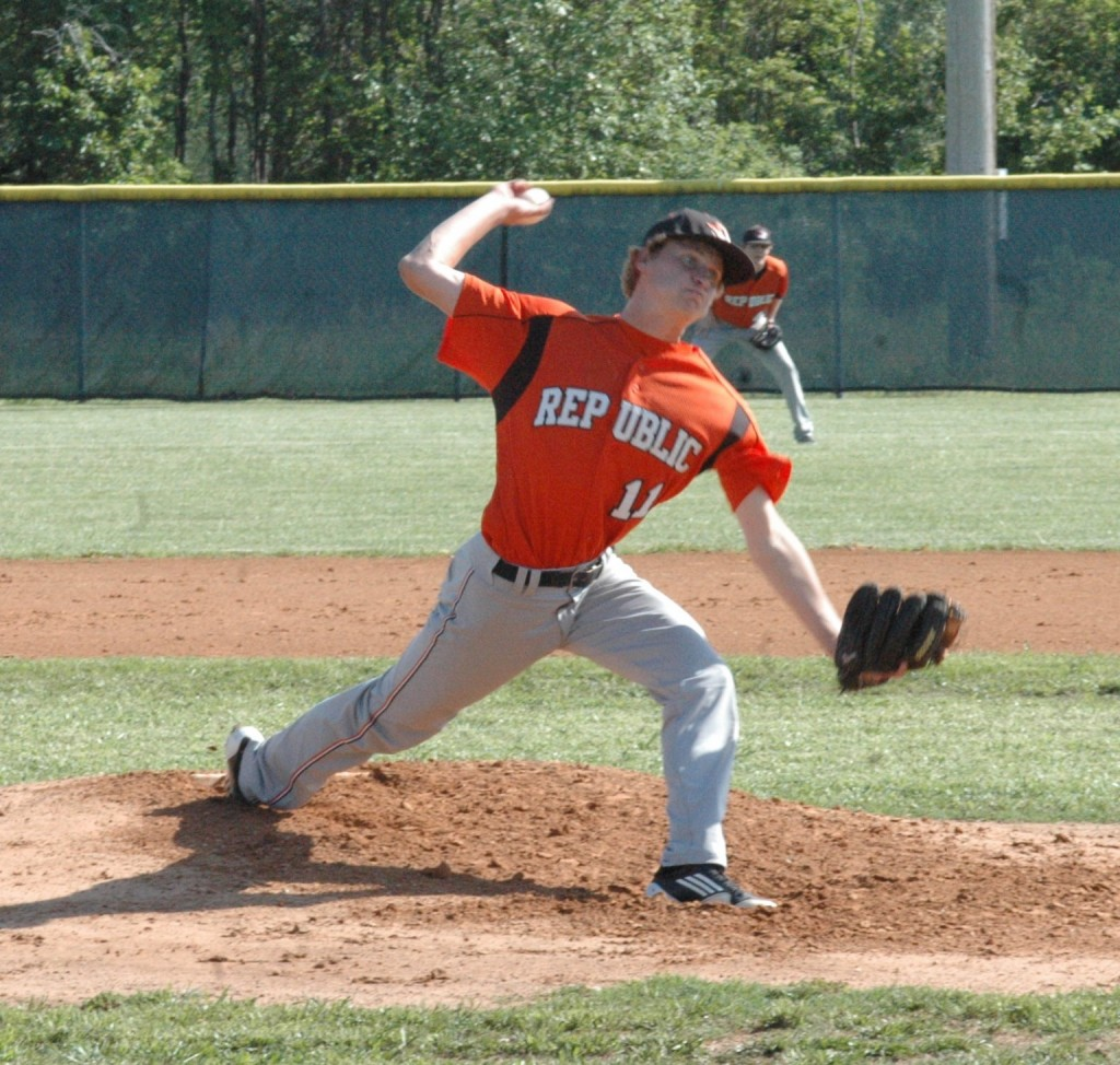 Nathan Strobel Delivers A Pitch During Republic's Win Over Aurora Wednesday. (Photo Courtesy Rodger Wheeler)