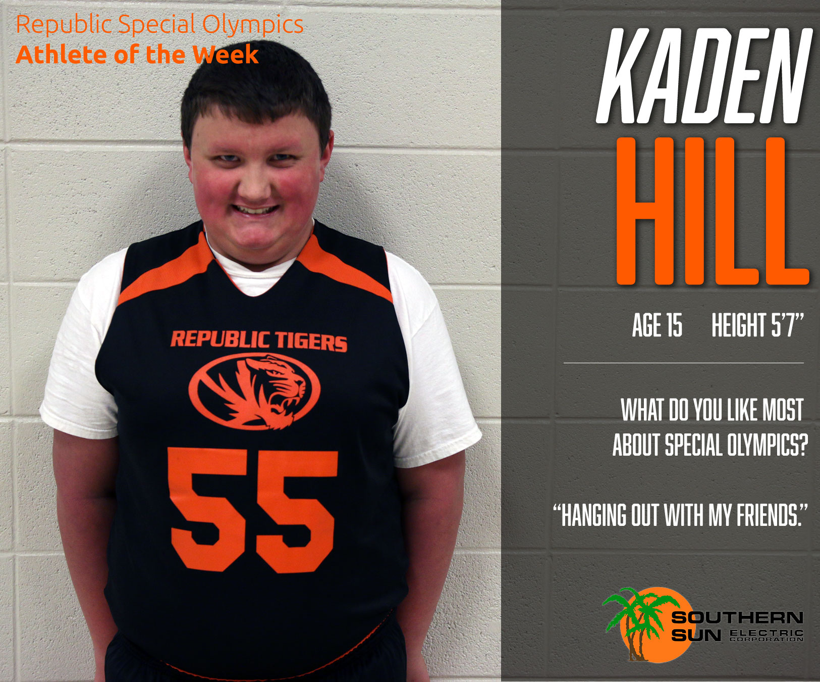 Special Olympics Athlete Of The Week: Kaden Hill
