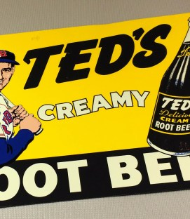 Ted Williams Creamy Root Beer Metal Sign