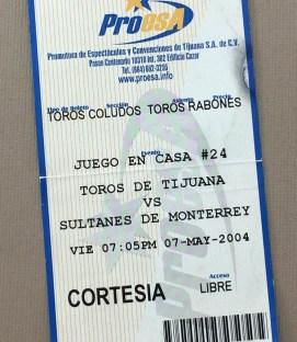 Tijuana Toros 2004 Ticket