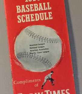 Early Times 1959 Baseball Schedule