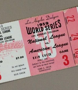 World Series 1959 Game 3 Ticket stub