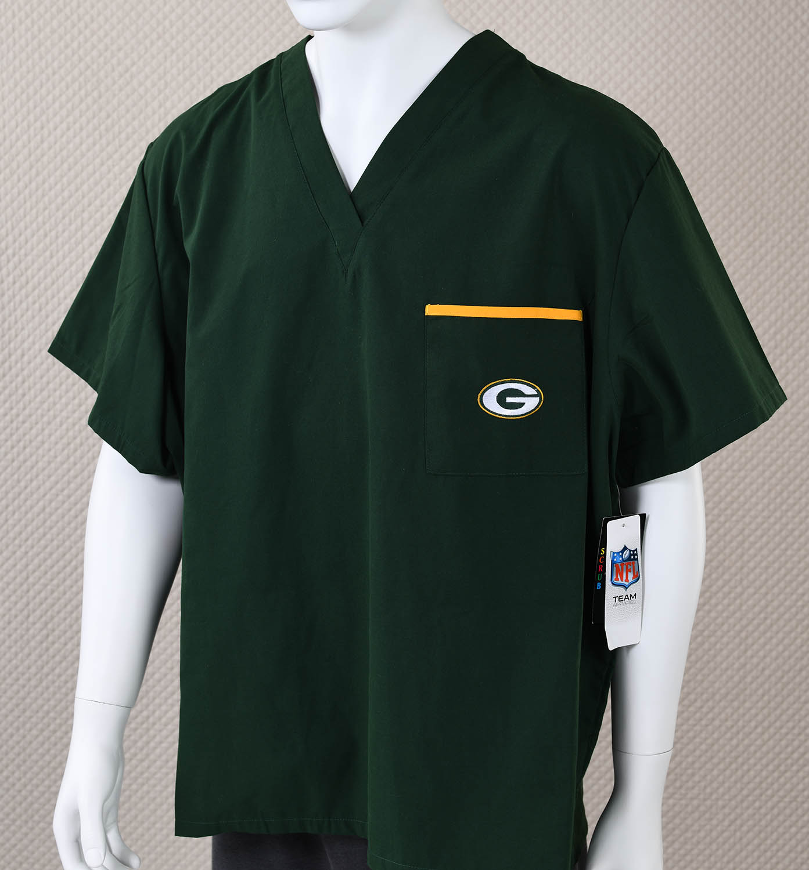 Green Bay Packers Scrubs Shirt Sportshistorycollectibles