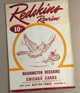 1945 Washington Redskins vs Chicago Cards Game Program