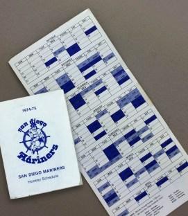 San Diego Mariners 1974-75 Schedule