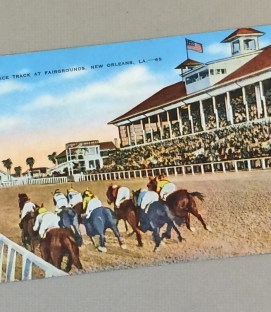 1930's Litho Postcard of The Race Track at the New Orleans Fairgrounds