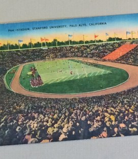 1930s Linen Postcard of Stanford Stadium in Palo Alto 2